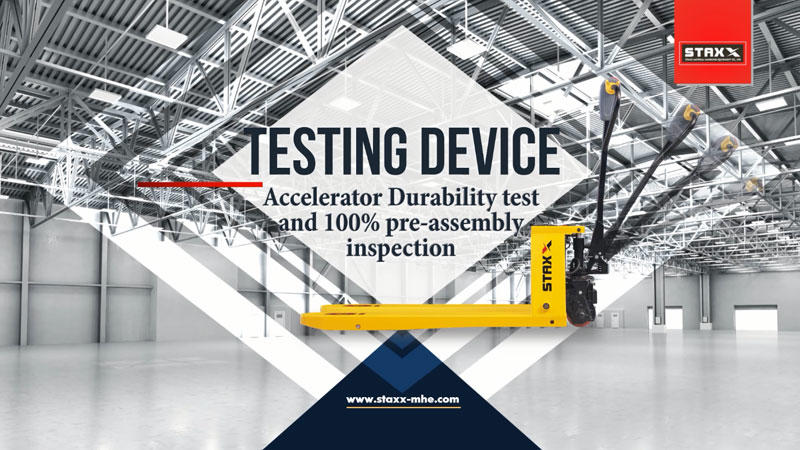 Pallet stacker truck accelerator durability test and 100% pre-assembly inspection