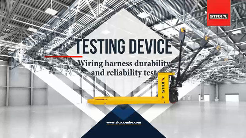 Straddle pallet stacker wiring harness durability and reliability test