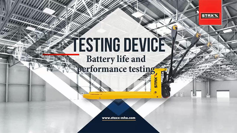 Electric stacker forklift battery life and performance testing