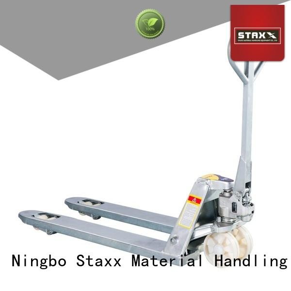 Staxx quick pallet jack with hand brake company for warehouse